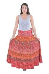 Indian Red Elephant Women Cotton Mandala Rapron Skirts