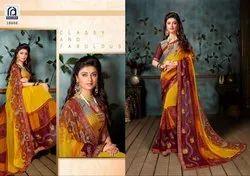 Rachna Georgette Saffron Catalog Saree Set For Woman 2