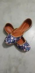 Women Printed Pure Leather Jutties, Size: 35 To 43