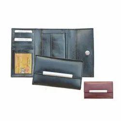 Leatherette Ladies Black Leather Clutch Wallet, Size: 9 Inch