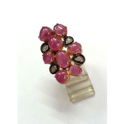 Ruby Gemstone Rings with Diamond 925 Jewelry