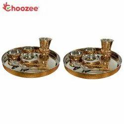 Choozee - Copper Thali Set of 2 (14 Pcs) of Thali, Bowl, Spoon & Matka Glass