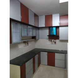 Brown And White Brown Aluminium Modular Kitchen