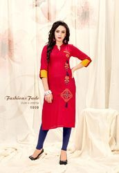 Red Zari Embroidery Rayon Slub Kurti