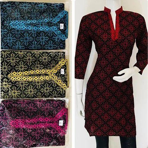 Printed Straight Designer Collar Cotton Kurtis