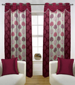 Fabutex Beautiful Maroon With White Lace Door Curtain 4x7 Ft .