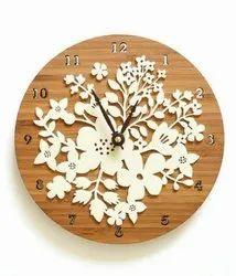 Wheel Shape Wooden Wall Clock, Shape: Round