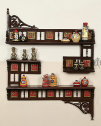 Teak Wood Wall Display Shelf