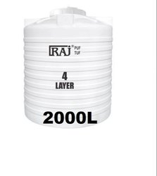 Raj Hdpe 2000 Ltr 4 Layer Water Tank, Storage Capacity: 2000L