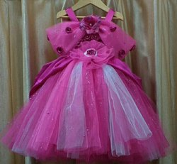 Net Baby Girls Lovely Pink Color Cinderella Princess Gown, Size: Small