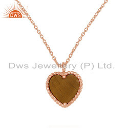 Rose Gold Plated Silver Tiger Eye Gemstone Heart Pendant Jewelry