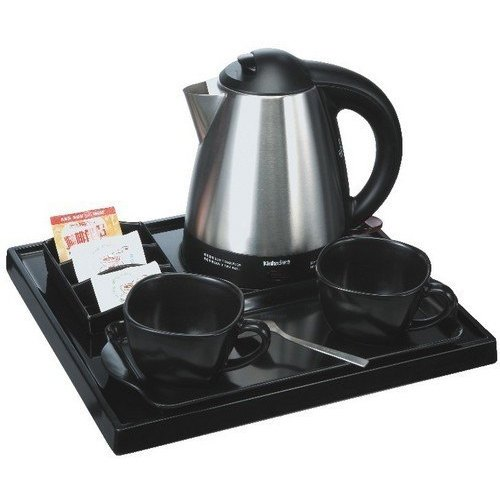 Black And Silver Stainless Steel Water Kettle Tea Tray Set, Shape: Round