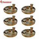 Choozee Copper Thali Set of 6 (30 Pcs) Plate, Bowl, Spoon & Matka Glass