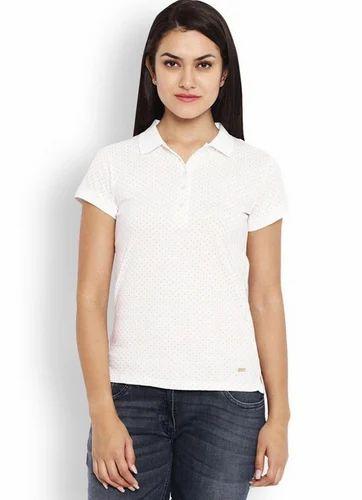 000863b3 Park Avenue White Regular Fit Woman T Shirt