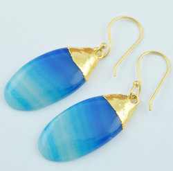 Natural Blue Banded Agate Cabochon Gemstone Earring