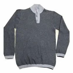 Cotton Mens Casual Wear Collar Neck Knitted T Shirt, Packaging Type: Packet, Size: S-XXL