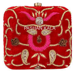 Zari Embroidery Clutch Purse and Box