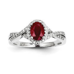 Diamond And Ruby Ring 14k White Gold