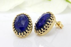 Lapis Lazuli Oval Shape Handmade Emerging Style design Patti Embroed Earstud
