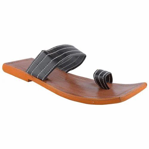 45e2642e8207 Black Square Toe Men Flip-Flop Slipper