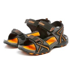 Mens Dark Grey Black Orange Synthetic Leather Sports Sandals