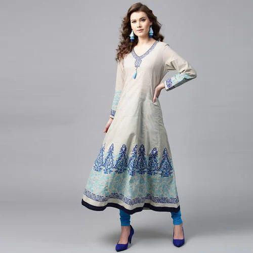02b66b5a3a3 Tulsattva Cotton V Neck Blue Printed Anarkali Kurta. mark as favourite