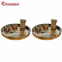 Choozee Copper Thali Set of 2 (10 Pcs) of Thali, Bowl, Spoon & Matka Glass