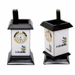 Wooden Pen Stand Clock