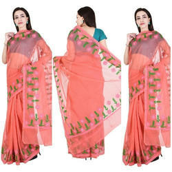 Georgette Kota Doria Sarees with Aari Work, Length: 6.3 m