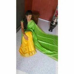 Yellow And Green Half fine Zari Gold Handloom Silk Saree, Hand Made, 6.3 m (with blouse piece)