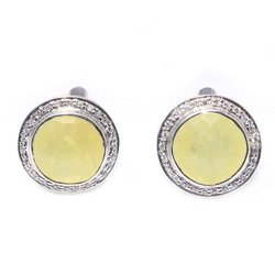 925 Sterling Silver Lemon Topaz With White Zircon Nice Party Wear Jewelry Cufflink