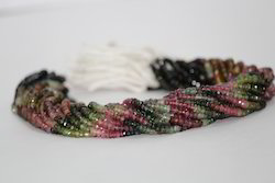 Natural Multi Tourmaline Faceted Rondelle Beads 4mm