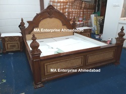 Wooden Carved Bed with Antique Look