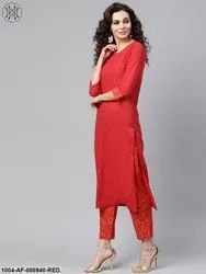 Nayo Solid Red Kurta Set With Gold Printed Pants