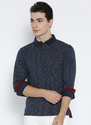 Navy Blue Printed Regular Fit Polo T Shirt