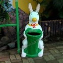 Rabbit Dustbin With Green Basket