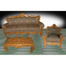 Tayyaba Enterprises Antique Living Room Wooden Sofa Set, 3+1+1, Cushion Back