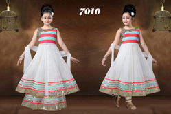 White Designer Front Cut Anarkali Dress, Size: 24 to 38