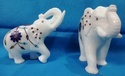 Marble Inlay Elephant Statue With Floral Work