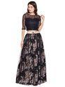 Georgette Martini Floral Black Full Length Skirt