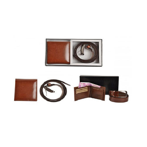 Brown Gents Leather Wallet With Belt Set