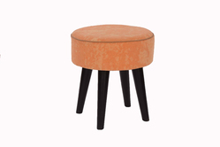 Cotton Plain Rug Upholstered Wooden Round Bar Stool