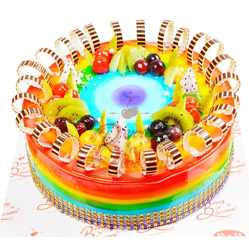 Admirable Round Rainbow Cake Weight 2Kg For Birthday Parties Rs 1900 Kg Personalised Birthday Cards Arneslily Jamesorg
