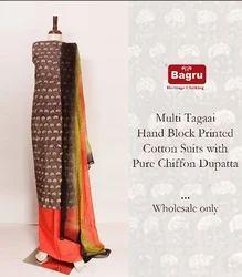 Sanganeri Block Printed Suit Set with Pure Chiffon Dupatta