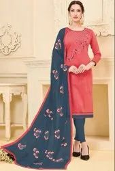 Coral Pink Banglori Slub Suit With Embroidered Dupatta