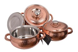 Copper Hammered Casserole With Lid