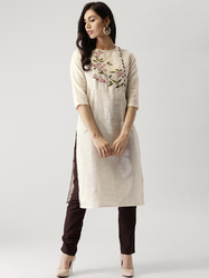 Stitched Cream Cotton Kurta, Adult