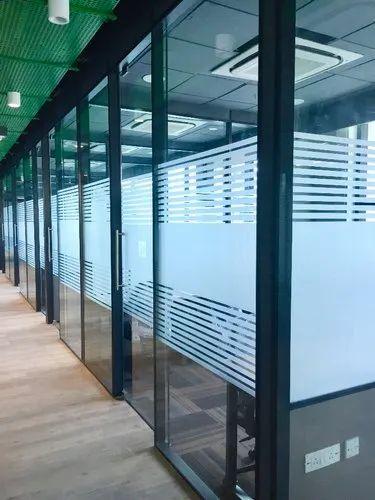 Modular Aluminum Double Glass Partition System