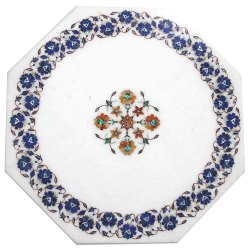 Stone Pietra Dura Art White Marble Inlay Table Top