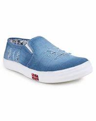 Slip On Girls Blue Denim Casual Shoes, Size: 10